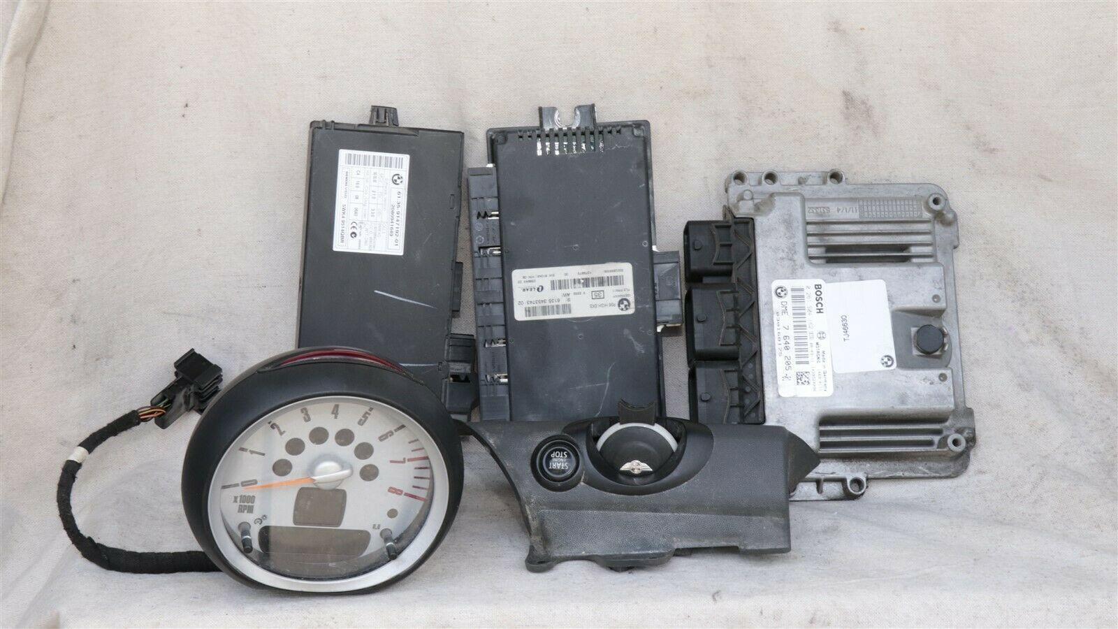 08 Mini Cooper R55 ECU ECM DME CAS3 Computer Ignition Switch Fob Tach SET - 6spd