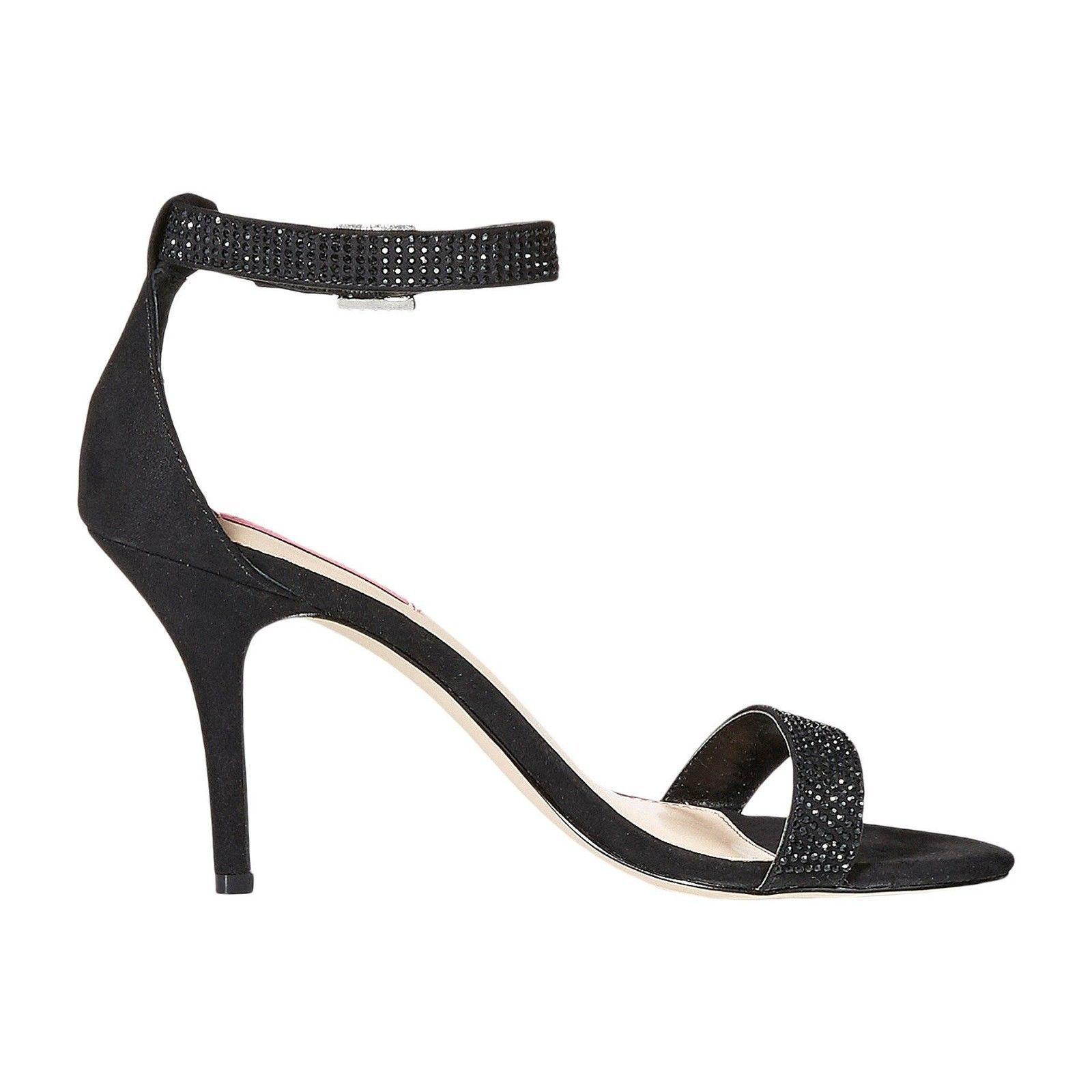 Betsey Johnson Brodway Black Satin Crystal Ankle Strap Heel Pumps 10 NIB