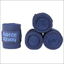 Dark Blue Horze Nest Elastic Polar Fleece Leg Wrap Bandage Set Of4 Horse... - $31.63