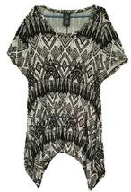 Chelsea & Theodore Womens Size XXL Black Southwest Geometric Print Top - $14.85