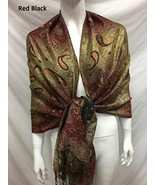 TkSories12 2ply Thick Metallic Shinny Pashmina Paisley Reversible Wrap S... - $37.62