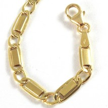 18K YELLOW GOLD BRACELET WITH FLAT ALTERNATE 4 MM OVAL  LINK MADE IN ITALY image 2