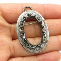 AM MEXICO 925 Silver - Vintage Floral Twist Bordered Oval Brooch Pin - B... - $31.14