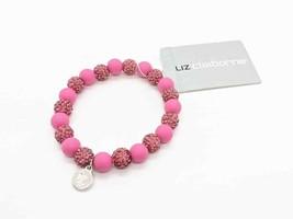 Liz Claiborne Stretch Bracelet Pink Magenta Rhinestone And Rubber Ball B... - $13.10