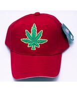 Brand New Marijuana Leaf Adjustable Baseball Caps by City Big - Bright Red - $3.95