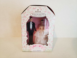 1997 Barbie and Ken Wedding Day Hallmark Keepsake Ornaments/Cake topper Set - $10.35