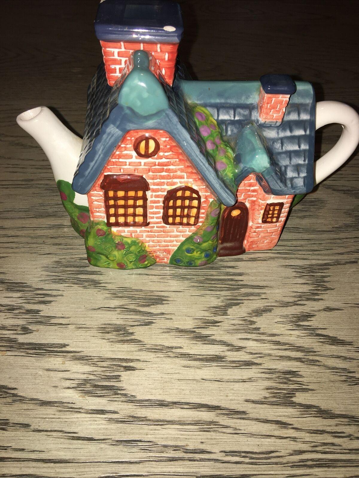 Thomas Kinkade Vintage 2005 Red Brick Cottage Teapot - $12.99