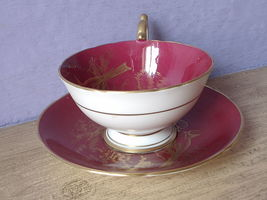 RARE Vintage 1950's Aynsley English bone china red and gold birds tea cup teacup image 4