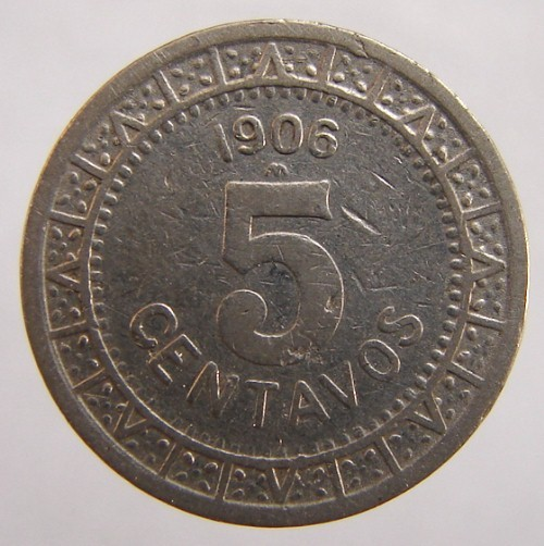 ANTIQUE Over 100 Years Old 1906 MEXICO 5 Centavos Nickel coi