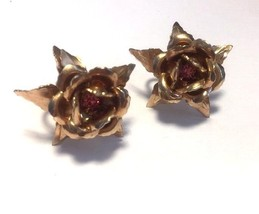 B.N. Bugbee Niles Earrings Copper Tone Rose Purple Stone Screw Back Midc... - $31.63
