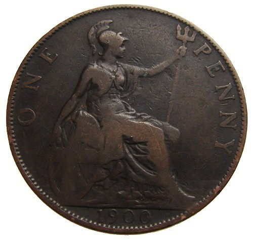ANTIQUE Over 110 Years Old BRITISH 1900 Victoria One Penny l