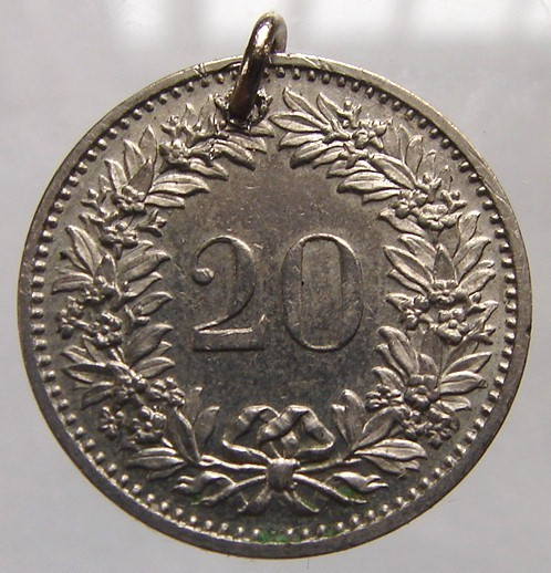 SWISS COIN CHARM Vintage over 35 years old 1974 Switzerland