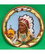Hand-Painted Ceramic 3D Plate Or Wall Hanging, American Indian Chief - $3.95