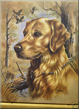Julie Gibson Yellow Lab Dog Canvas With Wild Ducks S/O - $36.19