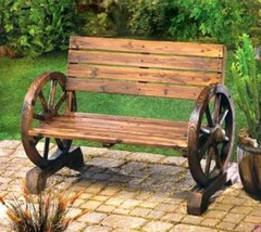 12690 Summerfield Terrace Rustic Country Wagon Wheel Bench - $149.31