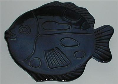 Blue Purple Glazed Ceramic Fish Dish Platter Plate