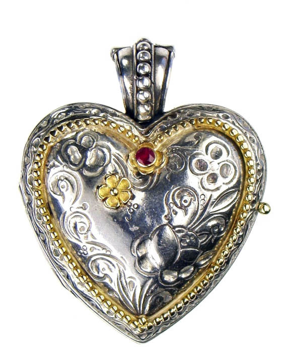 Gerochristo 3277 - Solid Gold, Silver & Ruby Engraved Heart Locket Pendant image 2
