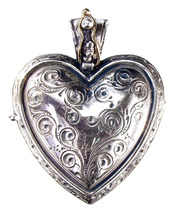 Gerochristo 3277 - Solid Gold, Silver & Ruby Engraved Heart Locket Pendant image 3