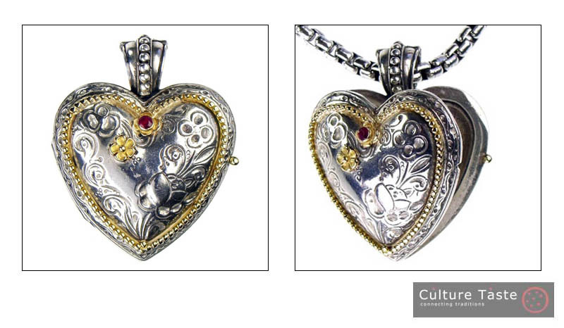 Gerochristo 3277 - Solid Gold, Silver & Ruby Engraved Heart Locket Pendant image 4