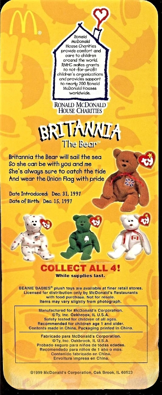 Britannia The Bear by TY for Ronald McDonald House Charities, 1999, Retired