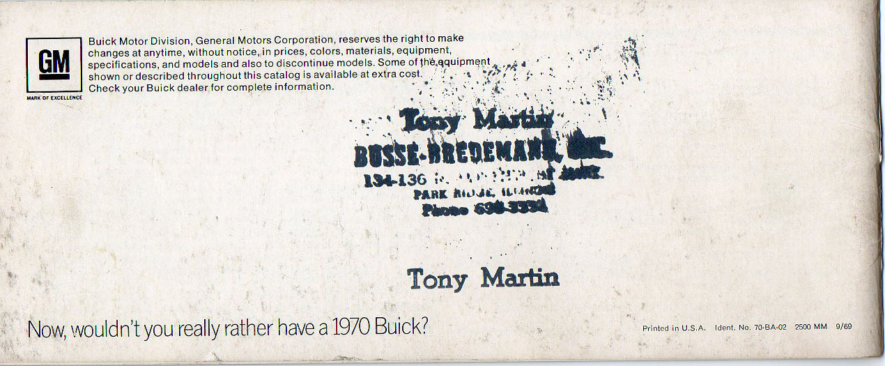 1970 Buick Sales Brochure from Busse-Bredemann Dealership