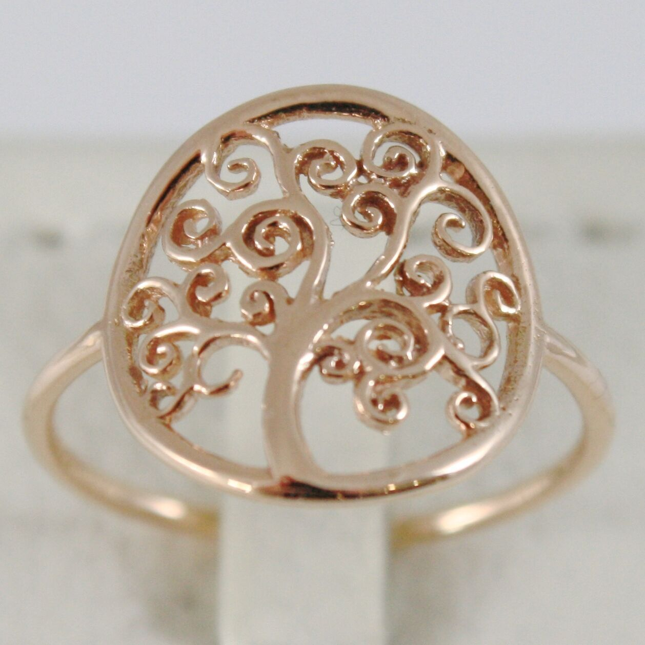 18K ROSE GOLD TREE OF LIFE RING, SMOOTH, BRIGHT, LUMINOUS, MADE IN ITALY