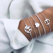 New Bohemian Map Heart Anchor Charm Bracelets Bangles For Women Fashion ... - $13.90+