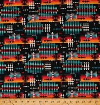 Cotton Spirit Trail Rainbow Stripes Triangles on Black Fabric Print BTY ... - $11.95