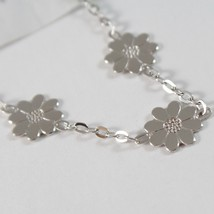 White Gold Bracelet 750 18k with Three Daisies, Flowers, Length 18 cm image 2