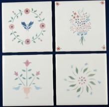"4 Decorative American Tiles 4-1/4"" Square Pastel Florals - $6.00"