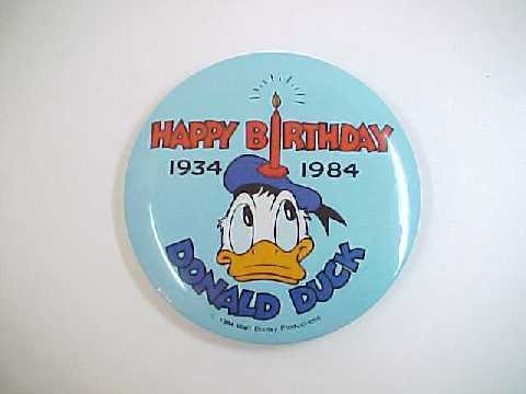 1984 Happy 50th Birthday Donald Duck Pin Back Pinback Button - $6.99