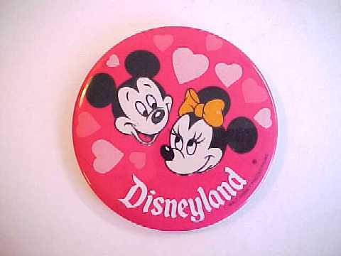 Vintage Disneyland Mickey and Minnie Mouse with Hearts Pin Back Pinback Button
