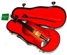 "KSA 5.5"" VIOLIN MUSICAL INSTRUMENT WOODEN REPLICA w/BOW CHRISTMAS ORNAMENT - $12.88"