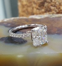 Certified 3.40Ct White Cushion Diamond Engagement Ring in Solid 14K Whit... - £212.97 GBP