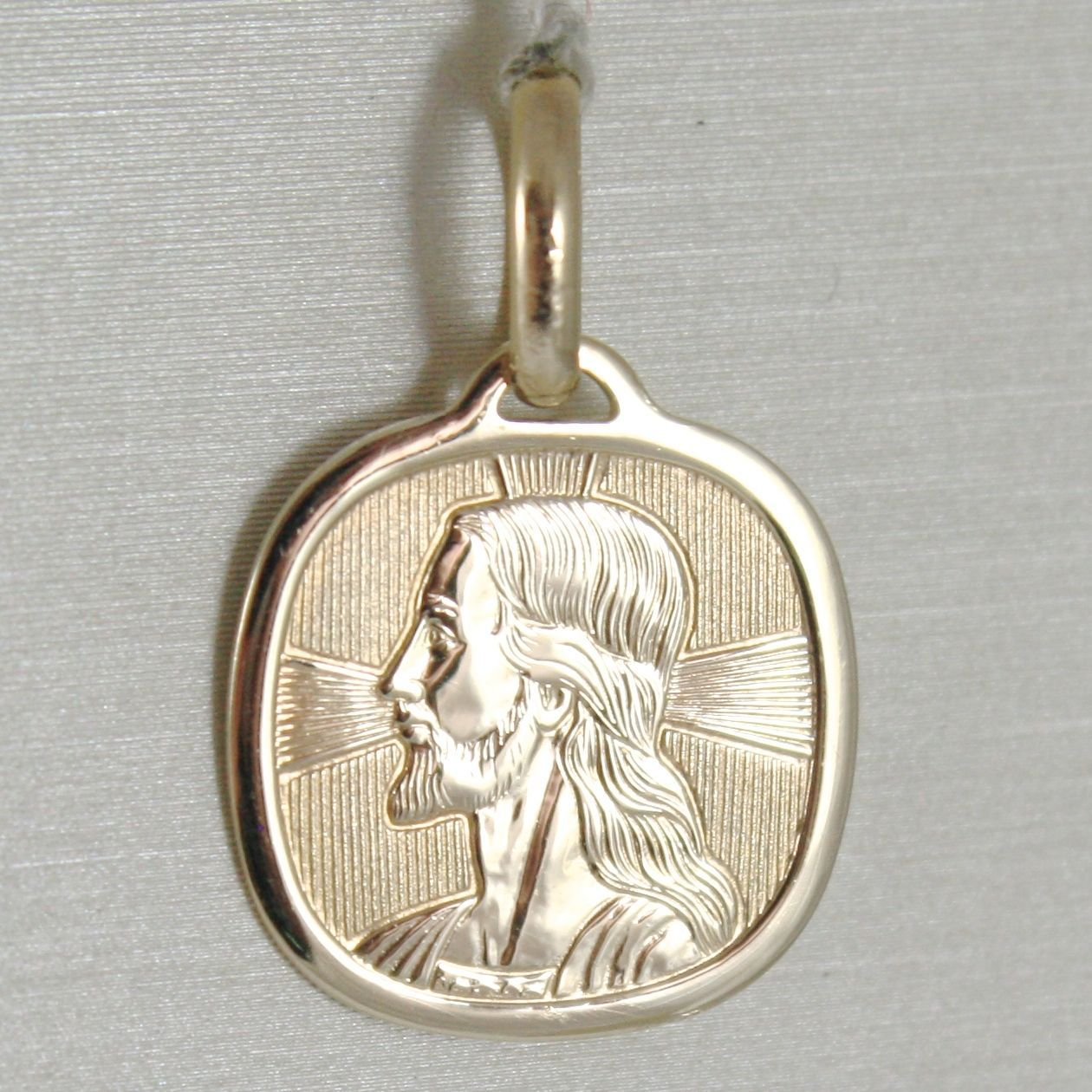 PENDANT MEDAL YELLOW GOLD 375 9K, VOLTO CHRIST, SQUARED, MADE IN ITALY