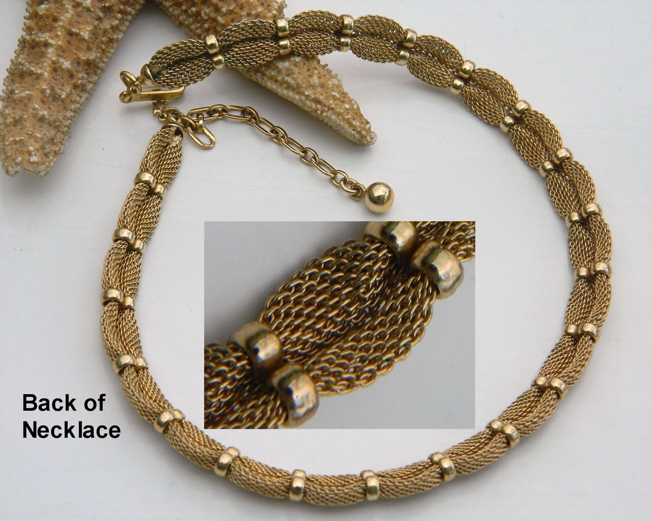 Vintage Trifari Mesh Choker Necklace Goldtone Crown Hang Tag