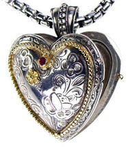Gerochristo 3277 - Solid Gold, Silver & Ruby Engraved Heart Locket Pendant image 1