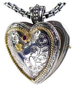 Gerochristo 3277 - Solid Gold, Silver & Ruby Engraved Heart Locket Pendant - $541.00