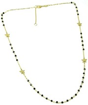 18K YELLOW GOLD NECKLACE, FACETED BLACK SPINEL, FLAT STARS, ROLO CHAIN ALTERNATE image 2