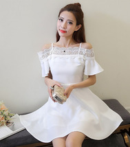PF265 sexy youth dress, off shoulder, cute trim, size S-XL, white - $22.80