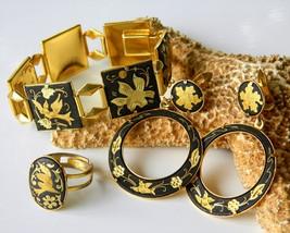 Vintage Damascene Bracelet Set Earrings Ring Birds Flowers - $59.95