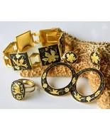Vintage Damascene Bracelet Set Earrings Ring Bi... - $59.95
