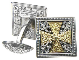 Gerochristo 7100 - Solid 18K Gold & Silver Medieval Cross Cufflinks  image 1