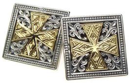 Gerochristo 7100 - Solid 18K Gold & Silver Medieval Cross Cufflinks  image 2
