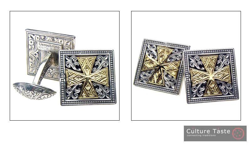 Gerochristo 7100 - Solid 18K Gold & Silver Medieval Cross Cufflinks  image 3