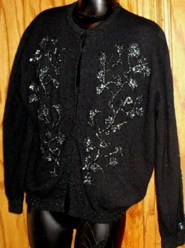 Vtg 50s Miami Bch Black Cardigan Sweater BEADED lined Bonanza
