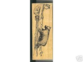 Man  Treed By Bear Rubber stamp up a tree - $14.93