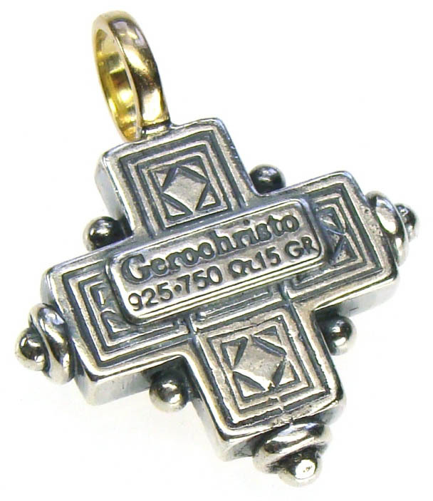 Gerochristo 5014 - Solid 18K Gold & Silver Byzantine Medieval Cross Pendant image 2