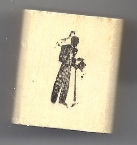 Primary image for Man in tails with top hat and walking stick rubber stamp very small silouette