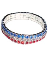 USA Stretch Bracelet Three Row Crystal Red Whit... - $13.99